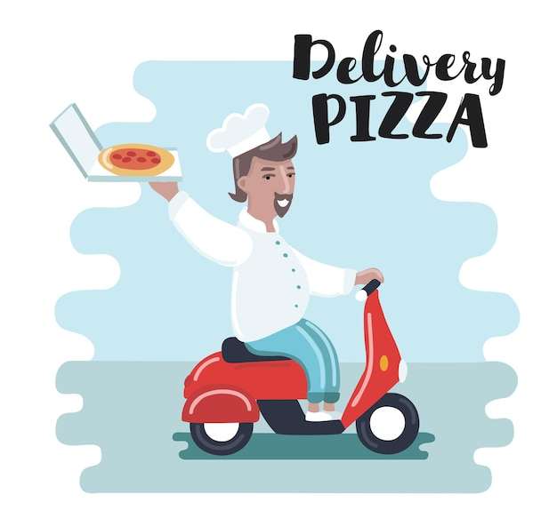 Illustration of funny cartoon chef cook riding red motor bike. pizza delivery