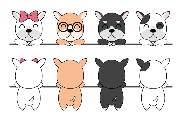 Illustration of funny cartoon dogs breeds set.