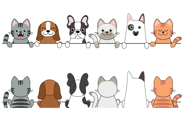 Illustration of funny cartoon dogs and cats