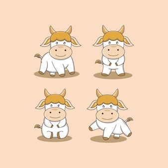 Иллюстрация забавный мультфильм маленькая корова животное набор дизайн вектор графический логотип талисман характер знак