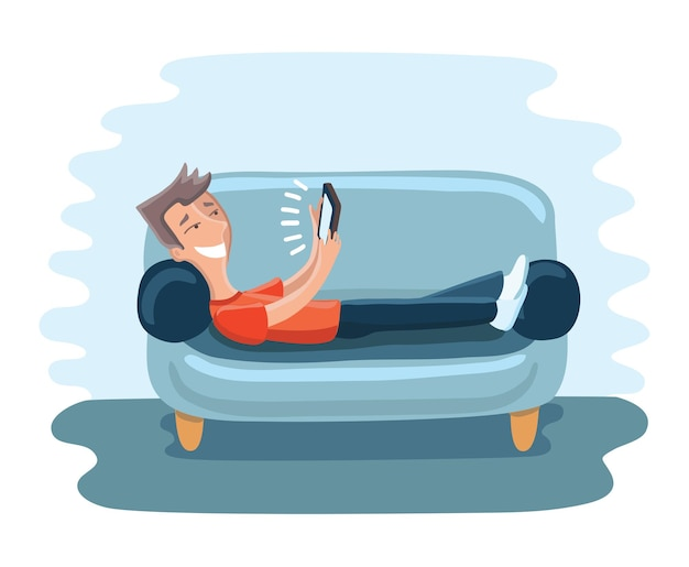 Illustration of funny cartoon man on sofa with tablet