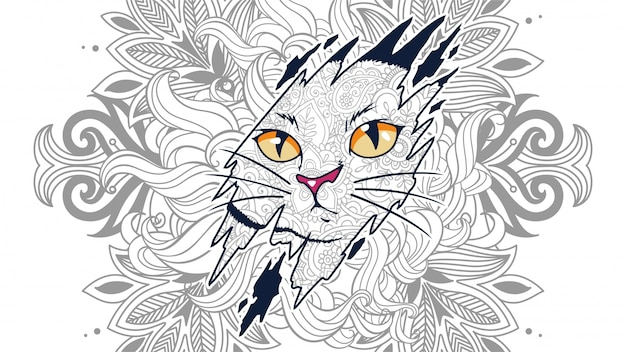 Illustration of funny cat head in zentangle stylized background