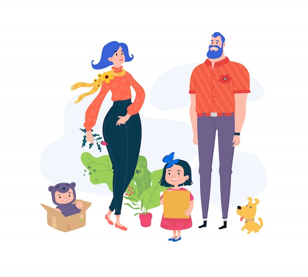 Illustration of funny characters dad, mom and kids.