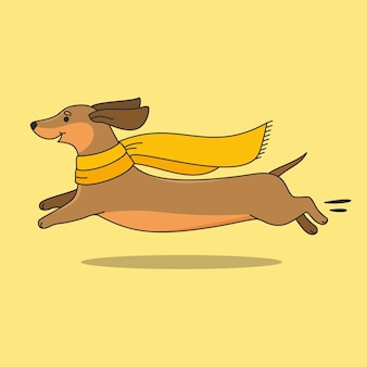 Illustration funny dachshund in a scarf running