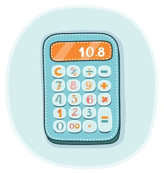 Illustration of funny kids calculator on isolated background