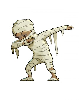 Illustration of a funny mummy doing the dab move.