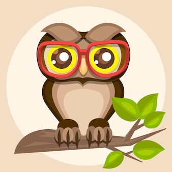 Illustration of a funny owl in glasses sitting on a branch.