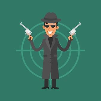 Иллюстрация, гангстер держит пистолет и улыбается, формат eps 10