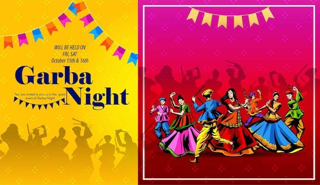 Illustration of garba festival disco posternavratri celebrationgujarati dandiya night poster