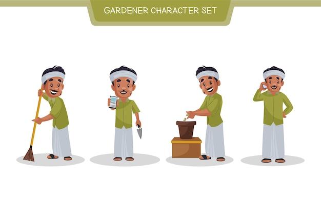 Illustration of gardener character set