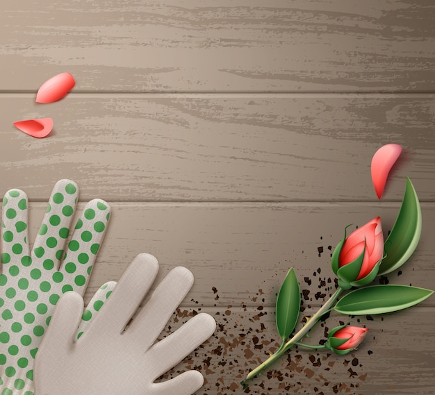 Illustration of gardening gloves with flower on wooden table