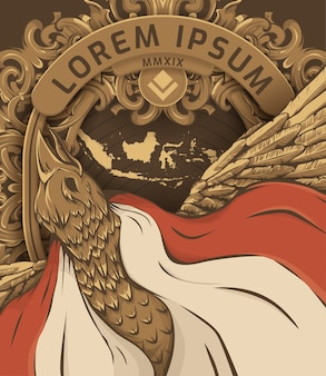 Illustration of garuda pancasila poster and banner template, indonesia independece day.