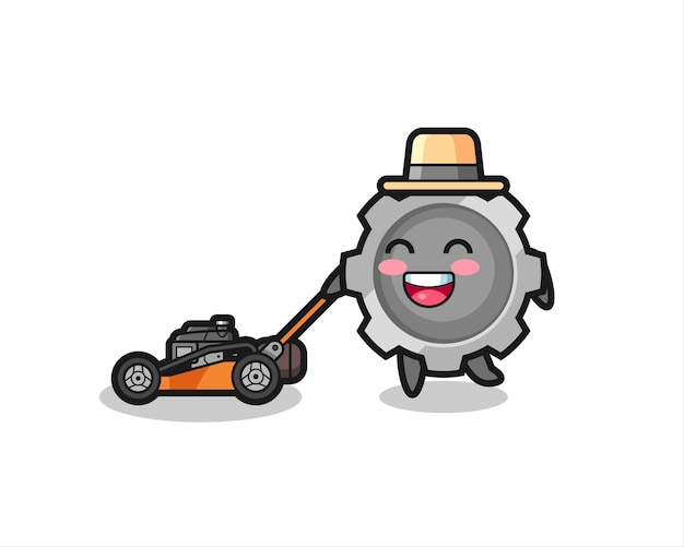 Illustration of the gear character using lawn mower , cute style design for t shirt, sticker, logo element