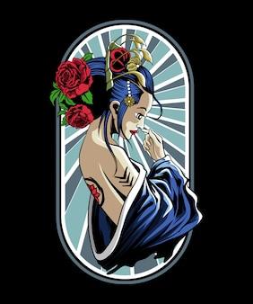Illustration of geisha girl