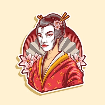 Illustration of geisha japanese culture