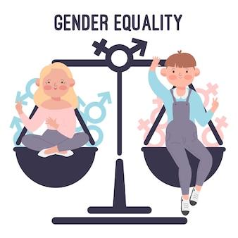 Illustration of gender equality concept