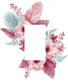 Illustration of a gentle wreath for a wedding invitation from eucalyptus, pink anemones, palm leaves and poppies.