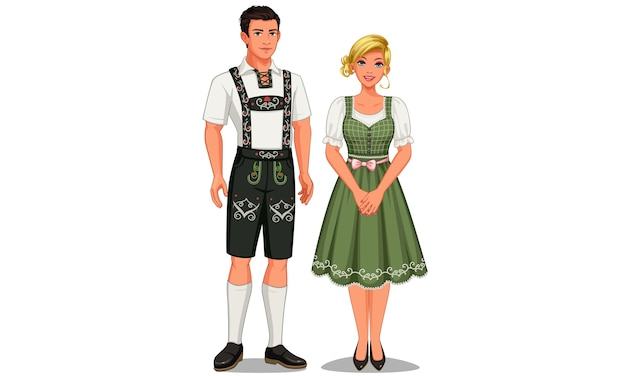 Illustration of german couple in their traditional costume
