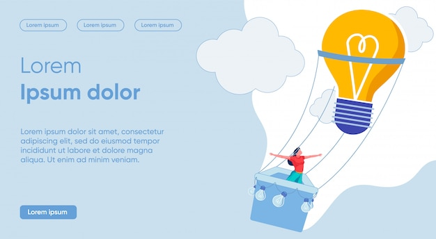 Illustration getting specific and vibrant idea. girl in sportswear flies in balloon on background clouds.