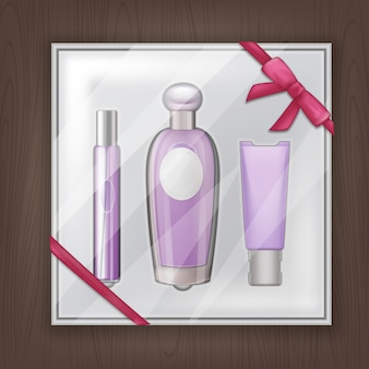 Illustration of gift perfume items on packaging with pink ribbon