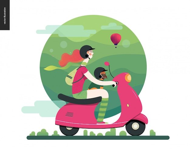 Illustration of ginger girl wearing helmet riding a pink scooter, french bulldog on lap