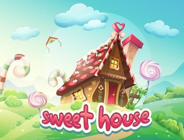 Иллюстрация пряничный домик со словами сладкий домик