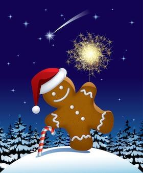 Illustration of gingerbread man wih a sparkler. vector illustration.