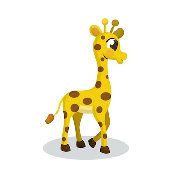Illustration of giraffe with cartoon style