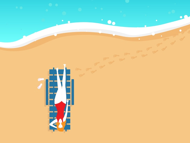 Illustration of girl on beach chair in summer top view vector background