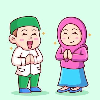 Illustration of girl and boy moslem cartoon