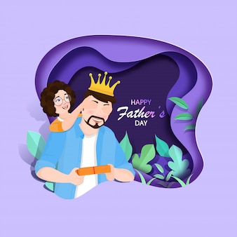 Illustration of girl closing her father eyes with gift box and green leaves Premium Vector