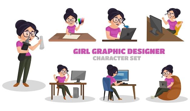 Illustration of girl graphic designer character set