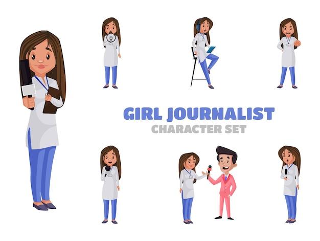 Illustration of girl journalist character set