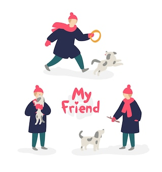 Illustration of a girl playing with a dog