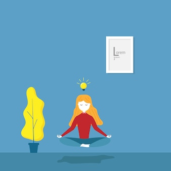 Illustration of girl practices meditation yoga for idea in her room flat cartoon vector