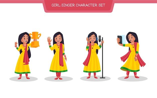 Illustration of girl singer character set
