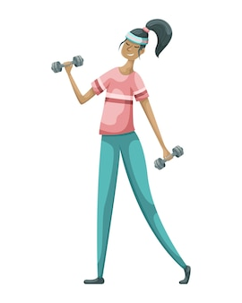Illustration of a girl in a sports uniform with dumbbells.