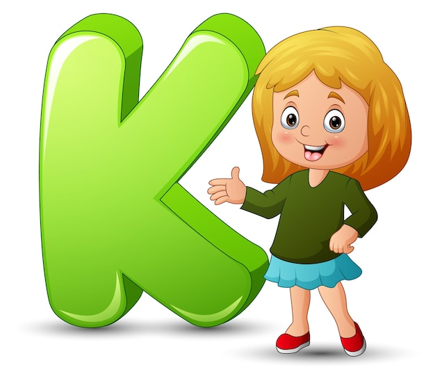 Illustration of a girl standing beside a letter k