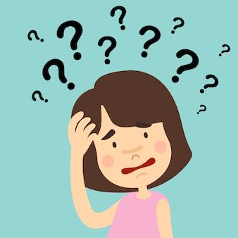 Illustration of girl thinking with question marks