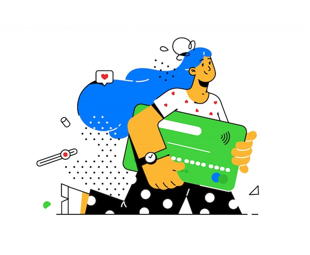 Illustration of a girl with a credit card in avant-garde style. bank customer with a debit card.