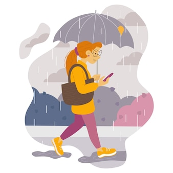 Illustration of a girl with red hair walking with an umbrella in the rain and looking at the phone