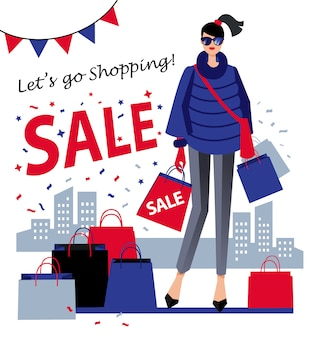 Illustration of a girl with shopping bag with the word sale on city landscape.