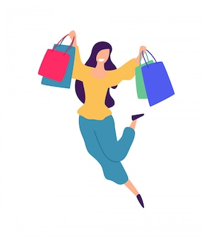 Illustration of a girl with shopping.