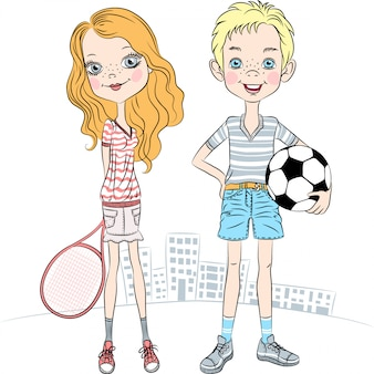 Illustration girl with a tennis racket and sports boy with soccer ball