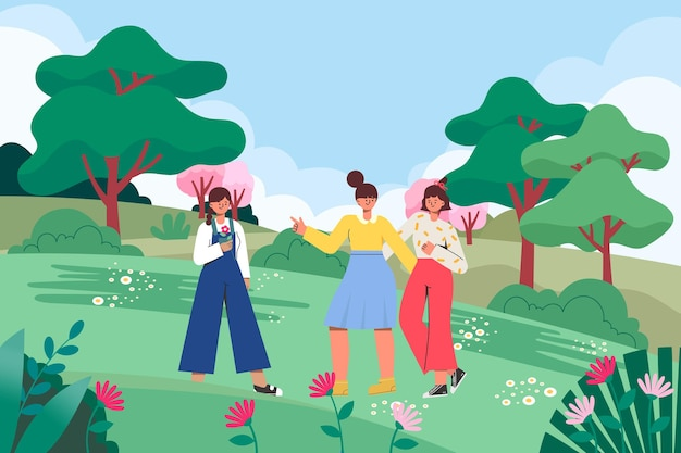 An illustration of girls going out on a spring outing