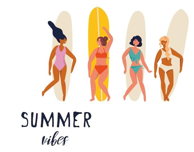 서핑 보드와 함께 서있는 그림 여자 서퍼 여름 분위기