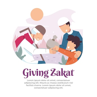 Illustration of giving zakat to people in need in the month of ramadan