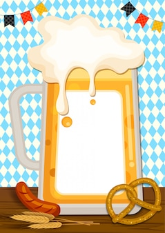 Illustration of glass beer to frame with pretzel and sausage on blue pattern background.
