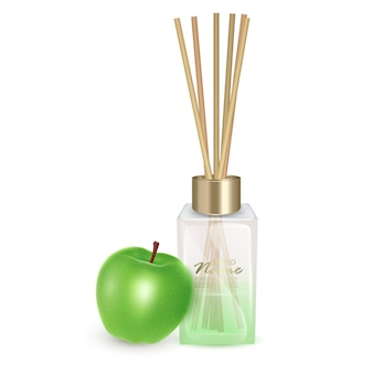Illustration glass jar with aroma sticks sticks of apples aroma realistic illustration