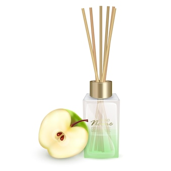 Иллюстрация стеклянная банка с ароматическими палочками яблочные палочки ароматическая иллюстрация